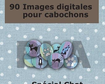 90 digital images for cabochons print - black & white paws.