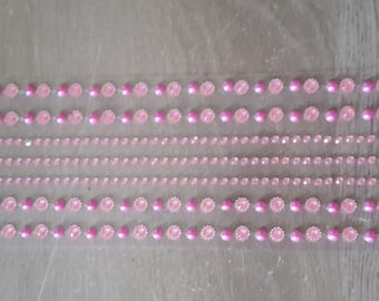 Pink round rhinestones