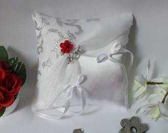 Red silver white ring bearer pillow. Love love