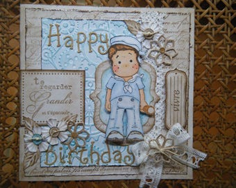 Kit and tutorial for card with a character sailor