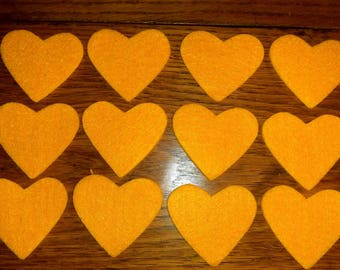 Set of twelve hearts yellow felt