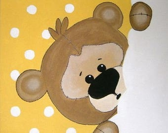 the small Teddy bear canvas 20x20cm acrylic personalized with child's name
