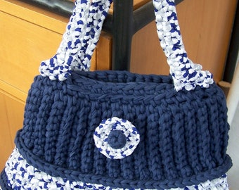 Handbag Navy Blue and white Heather blue crocheted