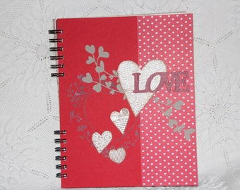 """""""Valentine"""" red and pink photo album all decorated with hand-made"""