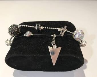 Women bracelet original color black and silver with Rhinestones