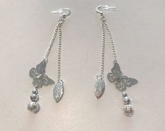 2 row silver mesh chain earrings