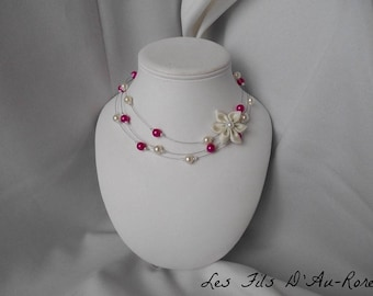Ivory satin flower and LISA with fuchsia Pearl and Pearl Necklace