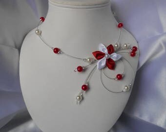 Juliet necklace with Swarovski pearls and red and white satin flower