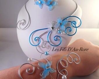 Wedding ALIZÉE 3 piece necklace, bracelet & earrings set