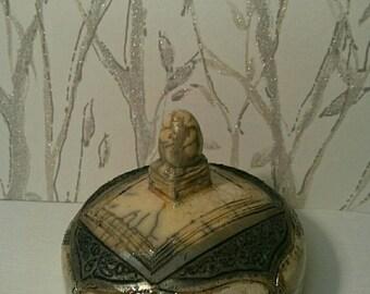 box in Smokey black white Crackle raku ceramic and silver nitrate