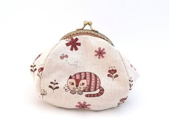 Purse in cotton and linen printed cat