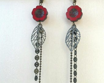 Bronze earrings red flower and chain