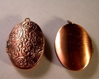 1 charm pendant Locket door photo-copper - 30 mm B024