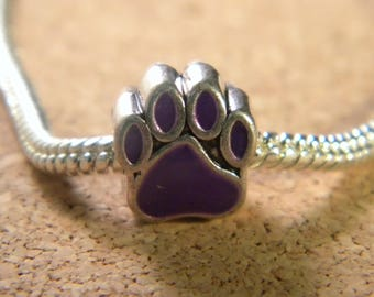 bead charm European - style 11 mm-dog paw pandor@-glazed - purple - C36
