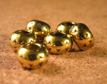 5 European bead Tibetan metal - gold - 10 to 15 mm