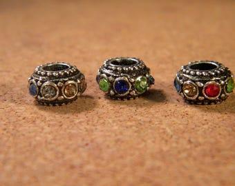 3 bead charm European - style pandor@-10 mm - multicolor rhinestone CHA-B-38