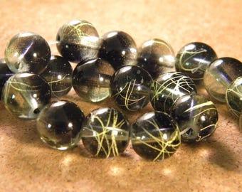 10 pearls glass translucent technology - 12 mm-black / light salmon PE34