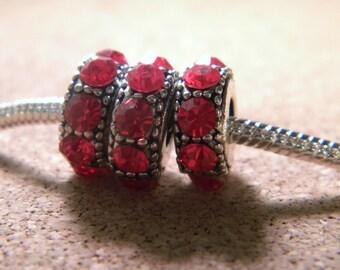 Pearl Red Crystal-rhinestones-European charms - 14 x 6 mm-CHA-C-14