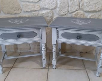 Weathered old Birch bedside tables