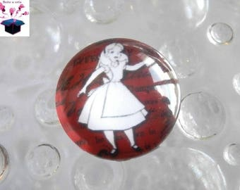 1 cabochon 20mm glass theme alice in Wonderland