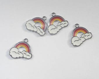 4 charms enameled Rainbow 2.5 x 2.5 mm