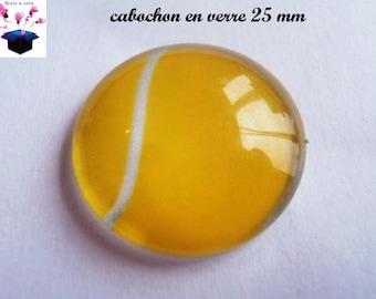 1 cabochon clear 25 mm theme tennis ball
