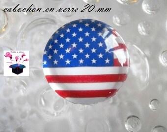 1 cabochon clear 20mm American flag theme