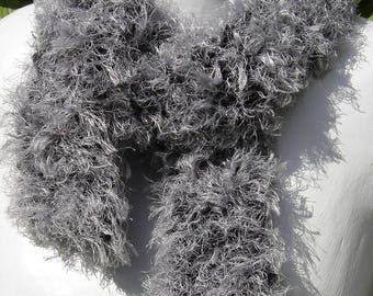 """fancy scarf """"hairy"""" color gray"""