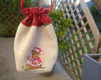 Small embroidered cross stitch Christmas bags