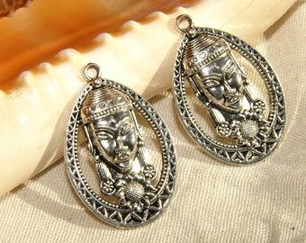 Mayan Aztec 32 X 22 X 5 mm Tibetan Silver Oval Pendant