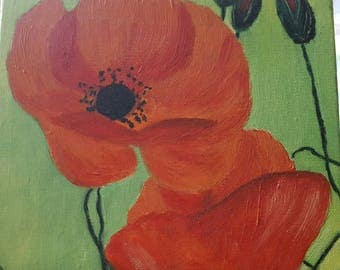 canvas poppy oil painting