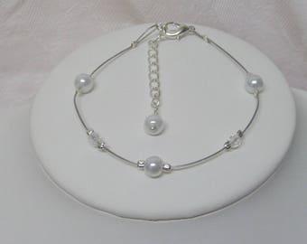 "Wedding bridal evening bracelet pearls and swarovski ""LOLA"""