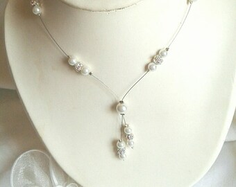 Bride wedding Choker stass and ivory pearls