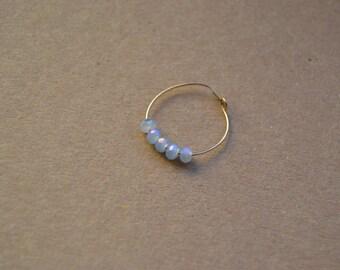 Ring brass gold glass beads