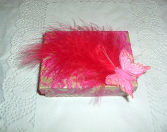 Pretty feather and Butterfly jewelry box