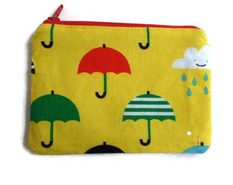 Coin Purse in Yellow Corduroy with Umbrellas, Cards Case, Make Up Pouch, Coupon Holder, Small Necessities Bag, Zippered and Fully Lined
