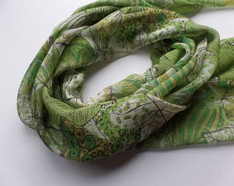 Silk Chiffon Scarf Made with Liberty of London Suki Ella Leaves Fabric Greenery