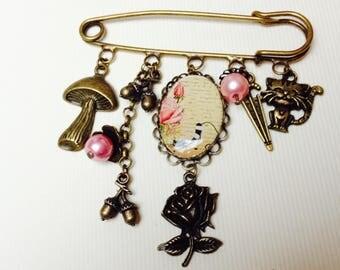 PIN back, cabochon, cat, fall, mushroom, rain, pink