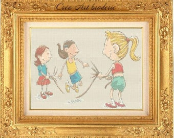 Jump rope kids counted cross stitch pattern