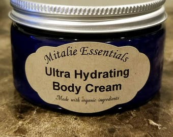 Certified Organic Ultra Hydrating Body Cream - Made with shea butter, aloe, grape seed, vitamin E, acai pulp - Unscented