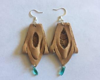 Leather cutout teardrops with aqua bead