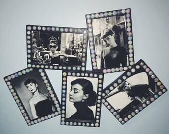 Audrey Hepburn Wall Art Custom Diamond Frame