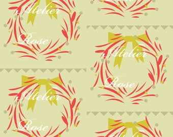 Printed fabric logo atelierose on taupe background