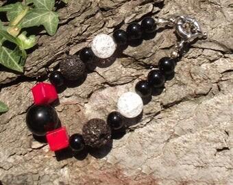 "Red and black bracelet ""Volcano"""