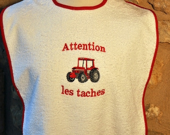 BIB Terry Red Tractor adult beige red bias