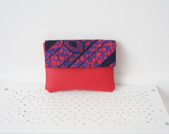 Cards, currency pink faux leather and African fabric