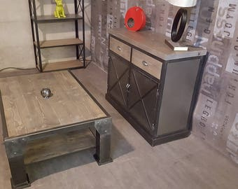 Coffee table industrial gray solid pine top