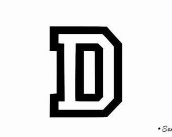 Letter D style University oldschool Thermo flex 7 cm
