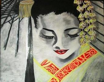 Reveries of a geisha painting acrylic on canvas, portrait Japanese woman.
