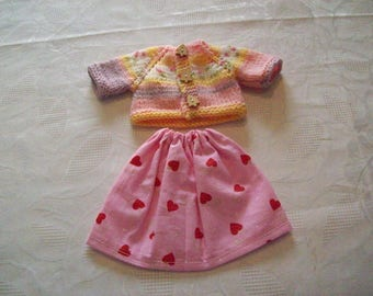 clothes for dolls 32 33 cm, with babies (skirt cotton print: hearts with vest or sweater)